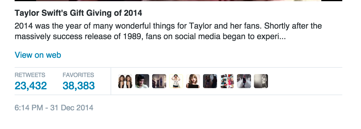 Taylor Swift Christmas Surprise Tweet